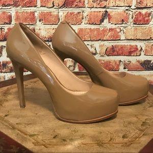 Pour La Victoire Patent Nude Platform Heels